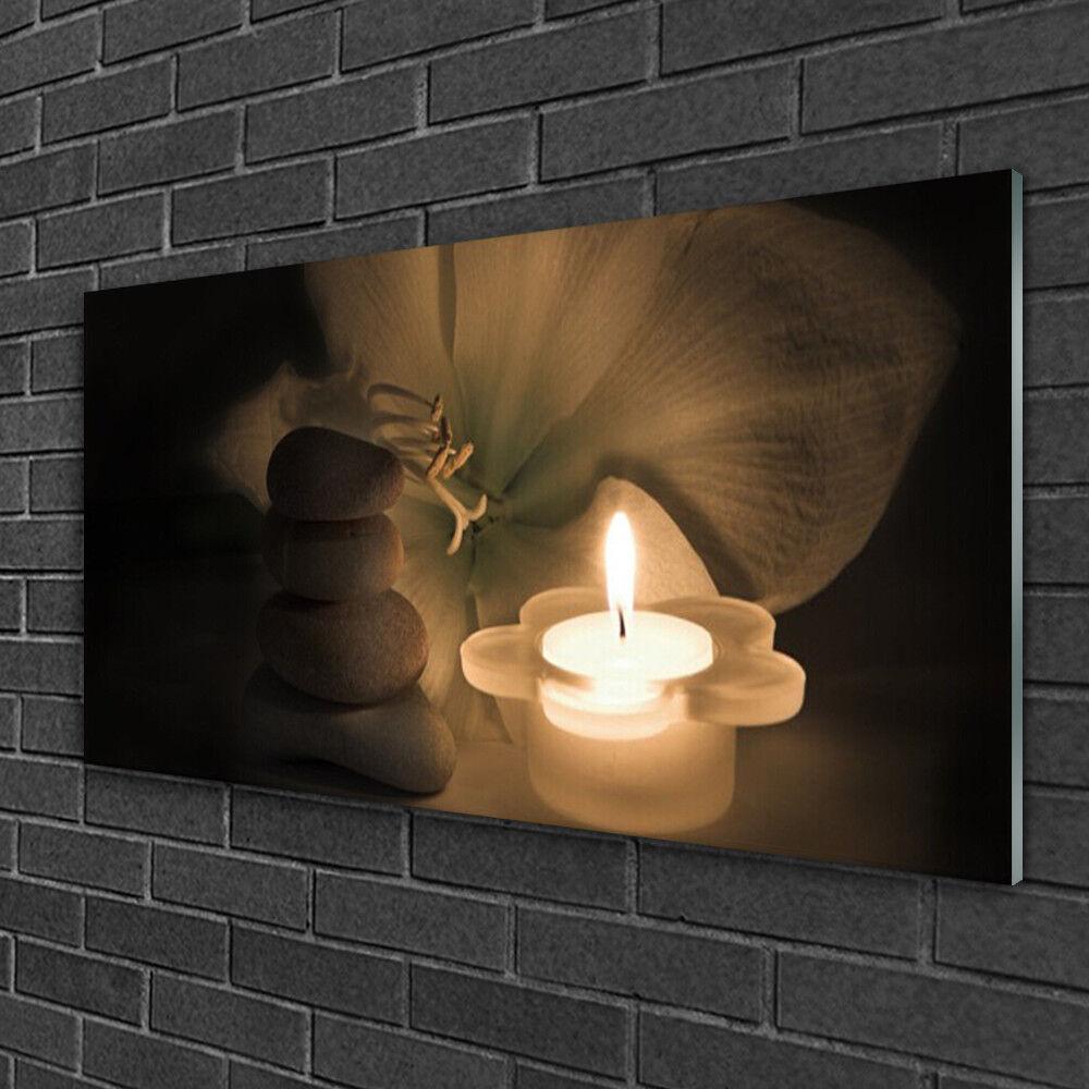 Image sur verre Tableau Impression 100x50 Art Bougie Pierres Fleur