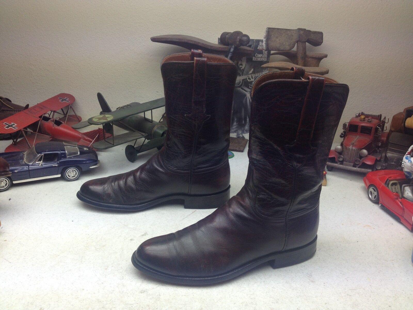 Vintage LUCCHESE EE. UU. Negro cereza occidental de cuero botas Vaqueras ingeniero jefe 9.5 D