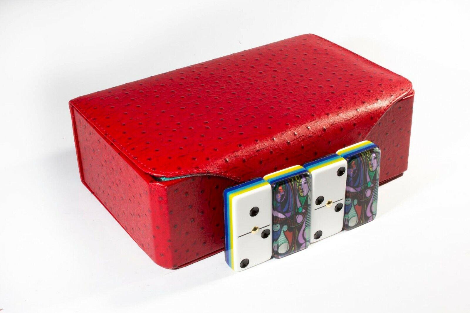 Fille devant un miroir par PABLO PICASSO Jumbo Dominos Double Six. 100% acrylique