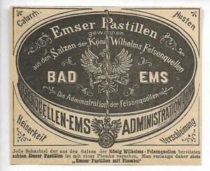 Bad-Ems-Werbung-1895-EMSER-PASTILLEN-Hist-Annonce-Reklame