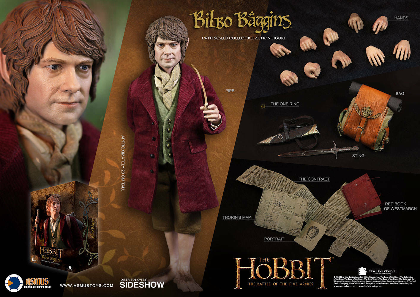 Asmus giocattoli Bilbo borsagins Hobbit LOTR Lord Of The  Rings Series 1 6 Scale cifra  risposta prima volta