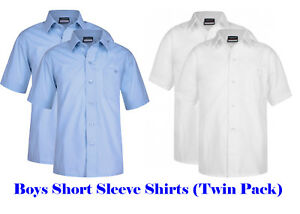 2 Pack Boys Short Sleeve School Shirt 3 4 5 6 7 8 9 10 11 12 13 years White Sky