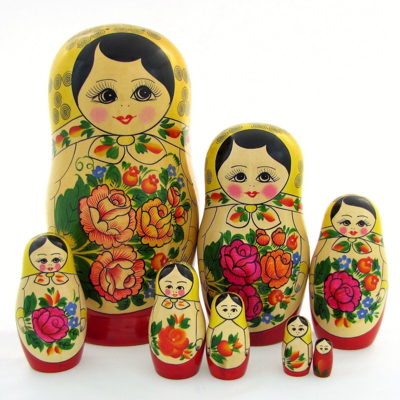 8 Poupées russes H27 Matriochka peint main signé Russian Nested Doll Gigognes