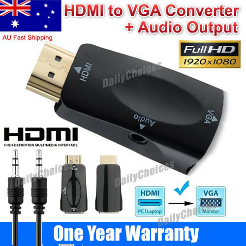 HDMI Male To VGA Female Converter Box Adapter With Audio Cable For PC HDTV AU