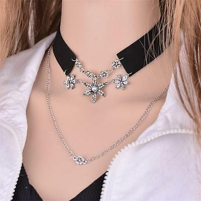 Retro Jewelry Leather Collar Double Chain Choker Crystal Flower Pendant Necklace