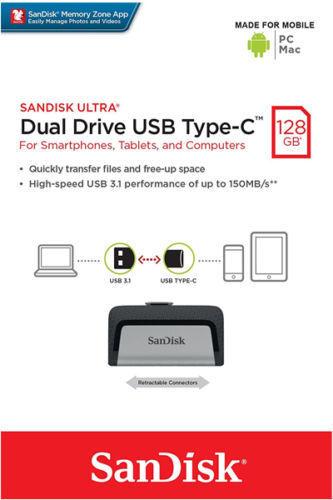 SanDisk Type-C OTG 256GB 128GB 64GB 32GB 16GB USB 3.1 3.0 Ultra Dual Drive Lot