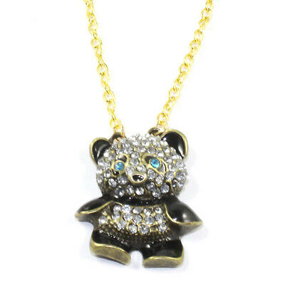 Fashion Rhinestone Crystal Panda Sweater Chain Girl Cute Animal Pendant Necklace