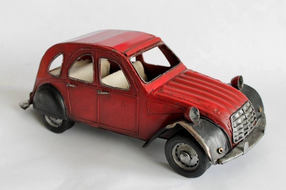 Antiguo Citroen 2cv Tamaño Grande De Lata Auto Juguete 1950