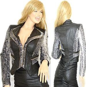 new style 8e0cd 26249 Dettagli su GIUBBINO NERO donna giacca eco pelle zip oro giacchino giaccone  manica lunga G07