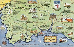 image is loading br77514 south devon map cartes geographiques uk 14x9cm