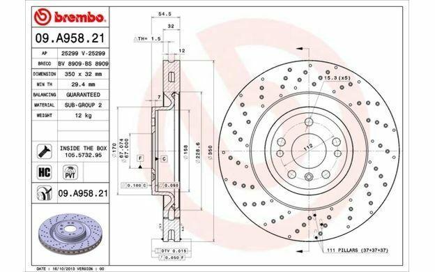 1x BREMBO Bremsscheibe vorne belüftet 350mm 09.A958.11 Mister Auto Autoteile