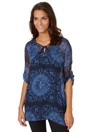 Damen 69 Bluse Blau Shirt Bonita Uvp Tunika 90 Pailletten a0dwOZ