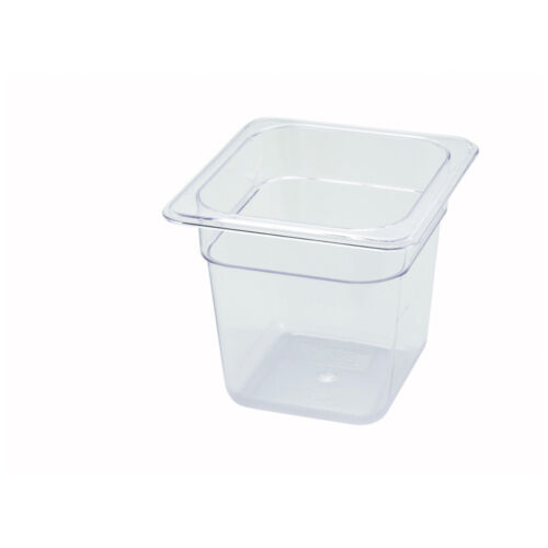 Winco SP7606 NSF 6-Inch Deep One-Sixth Size Polycarbonate Food Pan
