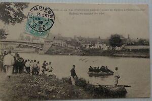 Compiegne-60-Cartolina-54eme-Reggimento-Fanteria-Passant-Aisne-Bon-Stato-Animata
