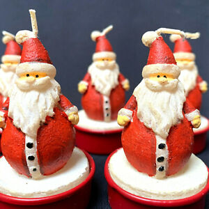 9 Santa Claus Candles In Red Tin Container