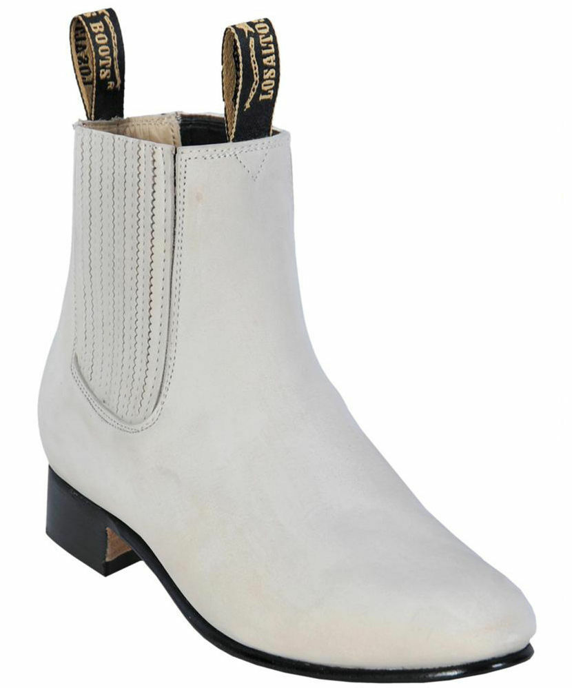 Men's Los Altos WINTER WHITE Charro Ankle Nubuck Suede Boots Leather Outsole EE+