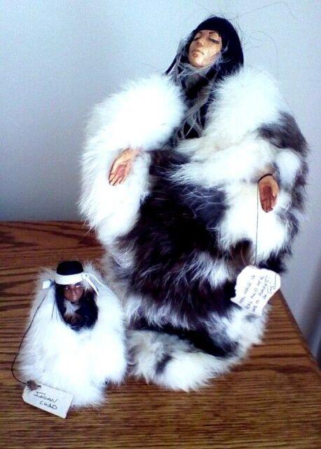 Native American Indian Woman & Child Artist Dolls Rabbit Fur Clothing Signatures
