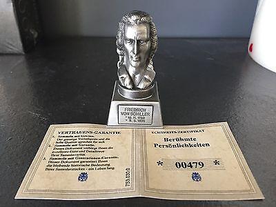 Friedrich Von Schiller - Rare Collectible Handcrafted Tin Bust Coa Fein Verarbeitet