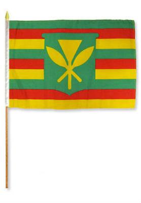 "Kanaka Maoli Stick Flag wood staff 12x18 12/""x18/"" Wholesale Lot of 12 Dozen"