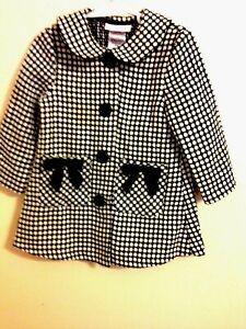 "Black/white/silver Thread Self-Conscious Bonnie Baby 24mo Dress Coat I Hear ""easter""!"
