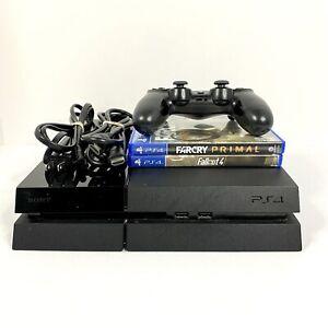 Sony PlayStation 4 PS4 500GB Black Console Bundle w/ 2 Games CUH-1115A Tested