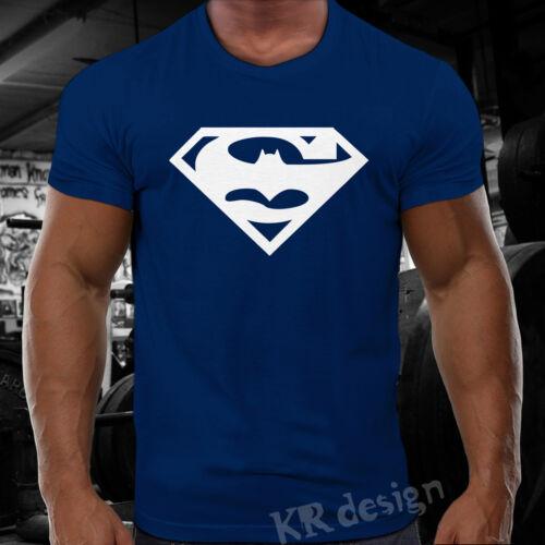 Super man batman t-shirt gym bodybuilding wod training sport workout fitness 01