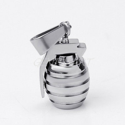 Chic Stainless Steel Grenade Charm Pendant Silver Tone For Men Necklace Gift