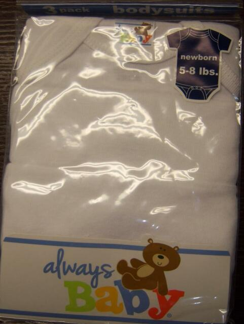 Newborn 3-6 or 6-9 0-3 Single White Always Baby A Trademark of Gerber Onesie