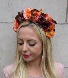 Image is loading Burgundy-Orange-Autumn-Flower-Headband-Hair-Crown-Floral- 99ae8505cde