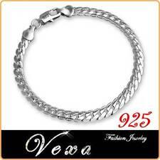 New 925 Sterling Silver 5mm Mens Womens Bracelet Charm Bangle Link Chain UK BS19