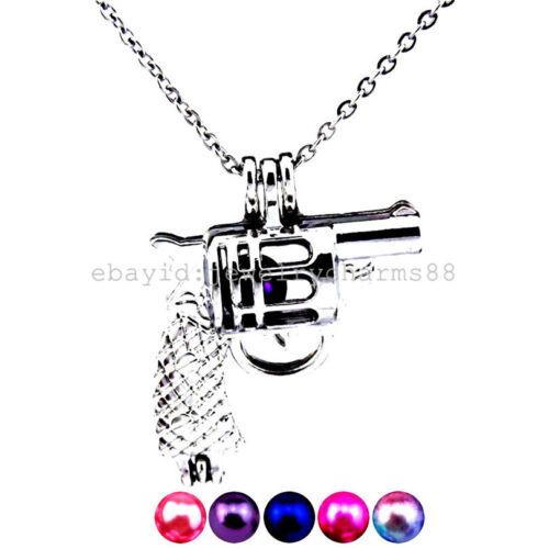 Z11 argent 29 mm boy Jouets Pistolet Gun Inox Collier médaillon perles cage