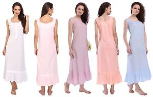 bd875d1235 Image is loading Womens-Sleeveless-Victorian-Style-Nightgown-Long-Sleepwear- Cotton-