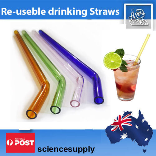 Glass drinking straws reusable 2 colours hand made straw