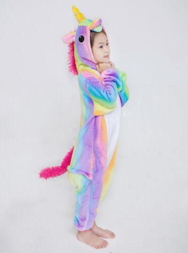 Unisex Bambini Arcobaleno Unicorn Kigurumi Pigiama ANIMALE flanella cosplay