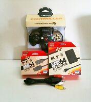 Black Controller Joystick For Nintendo 64 + A/c Adapter + A/v + Extension