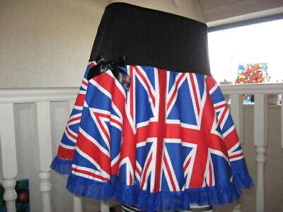 New Girls Retro Blue White Red Union Jack Flag Team GB England Party Punk Skirt