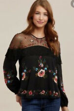 Wrangler Womens Western Floral Embroidered Top Shirt Tassels Mesh Rodeo Medium
