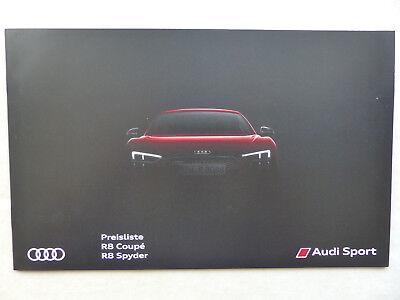 Begeistert Audi R8 Coupe & Spyder - Preisliste - Prospekt Brochure 07.2016 Waren Des TäGlichen Bedarfs