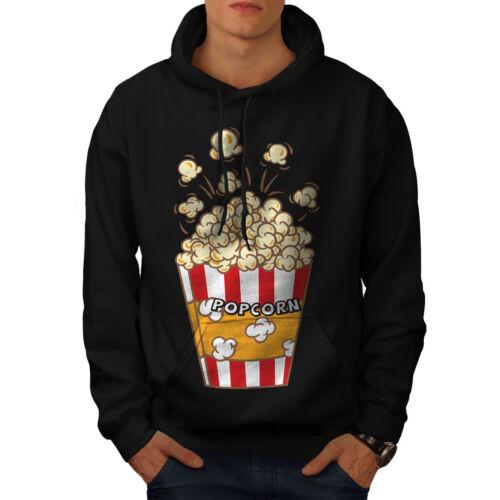 Bag Popcorn cappuccio Mens cappuccio Felpa con con Wellcoda Felpa nera New Casual IxwXqY7B