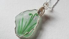 "Snowdrop wildflower necklace hand painted english sea glass 18"" silver chain"