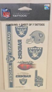 NFL-OAKLAND-RAIDERS-TEMPORARY-TATTOOS-1-SHEET-7-TATTOOS-FAST-FREE-SHIPPING