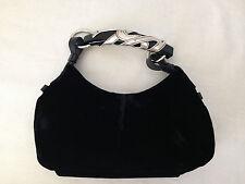 Yves Saint Laurent 100% Authentic Black Velvet Mombasa Gorgeous Silver Horn Bag