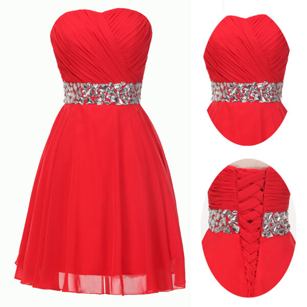 Sweet RED ❤❤ Short Formal Cocktail Party Prom Evening Homecoming Ball Gown Dress