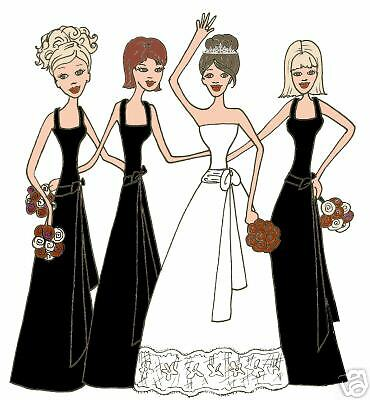 Bridal Thank You Cards Wedding Black 3 Bridesmaids For Sale Online Ebay