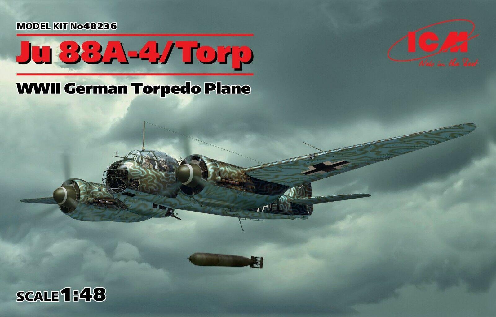 ICM 48236 Ju 88A-4 Torp, WWII German Torpedo Plan 1 48 plastic model kit 200 mm