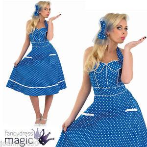 MUJER AÑOS 50 Pin-Up Vintage Azul Día Vestido de lunares Graduación ... 7004341224c