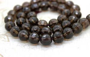 Natural-Smoky-Quartz-Faceted-Transparent-Round-Beads-Natural-Gemstone