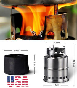 Outdoor Camping Wood-burning Stove Backpacking Portable Survival BBQ Panic Stove