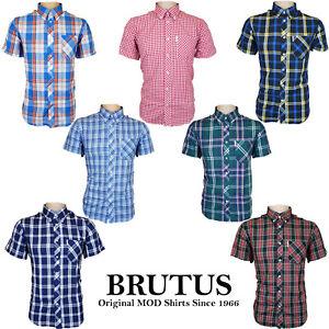 Brutus-para-hombre-camisas-Mod-comprobado-Collar-De-Bolsillo-T-Shirt-Ligero-Suave-Reino-Unido-S-2XL