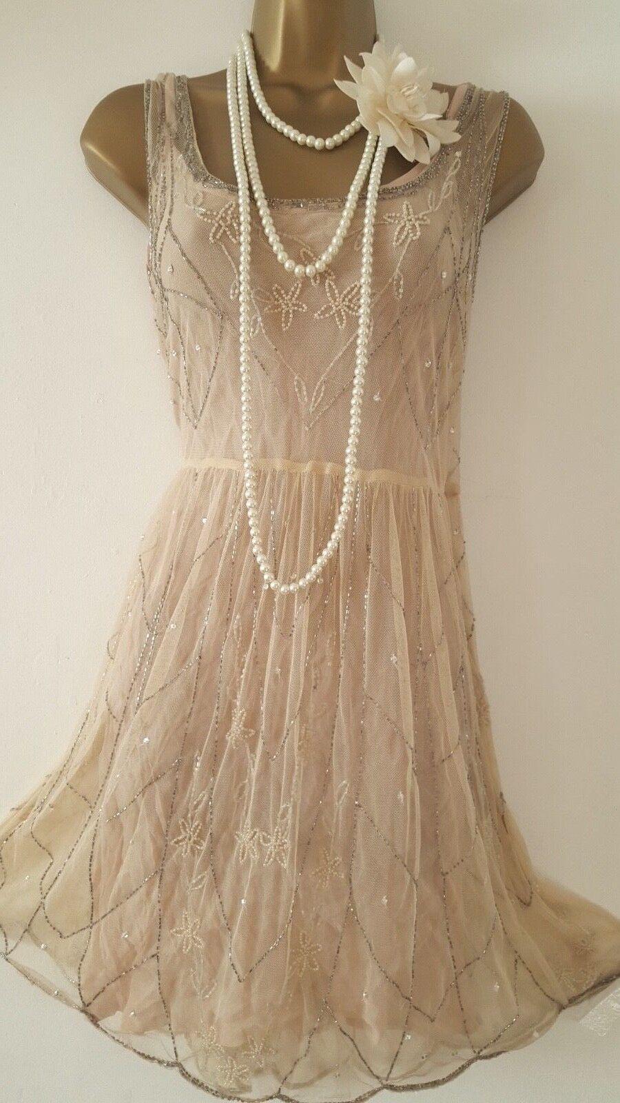 NEWLOOK 20'S STYLE GATSBY FLAPPER CHARLESTON DECO SEQUIN BEAD DRESS Größe UK16